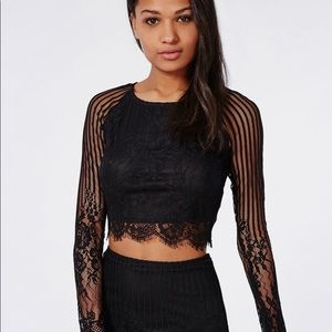 For love and lemons lace long sleeve top, size L